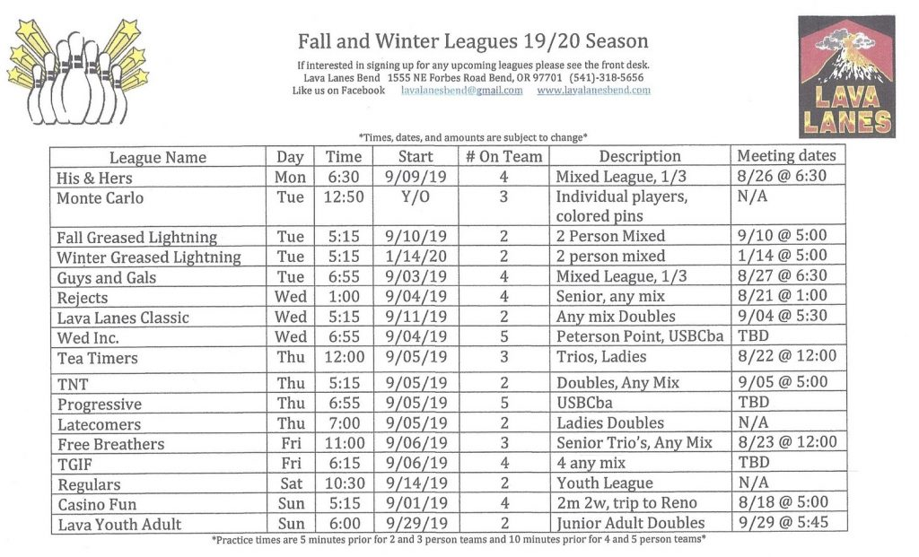 fall 2019 leagues