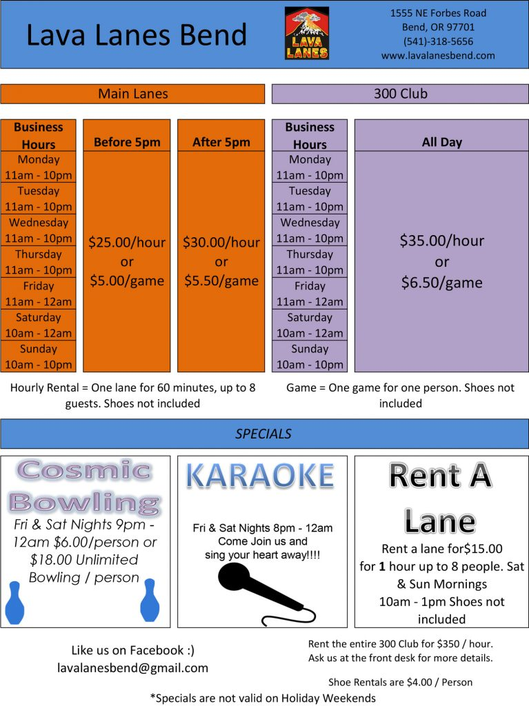 pricing sheet