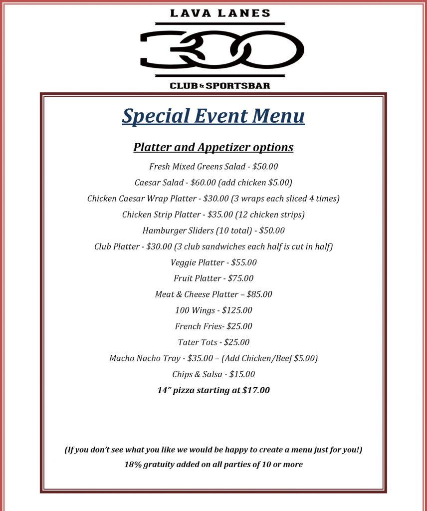 special event menu